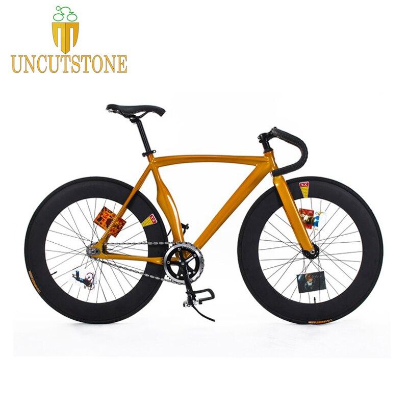 Fixed Gear Bike 53cm  Frame Fixie  Bicycle  DIY 700C  Aluminum Alloy Bike Track Bike Bicycle 70mm  Wheel Rim  Bike