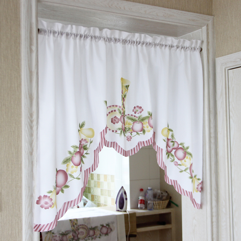 New Cafe Short Kitchen Curtains Fruits Design Embroidery Lace Japanese Door Curtain Cotton And