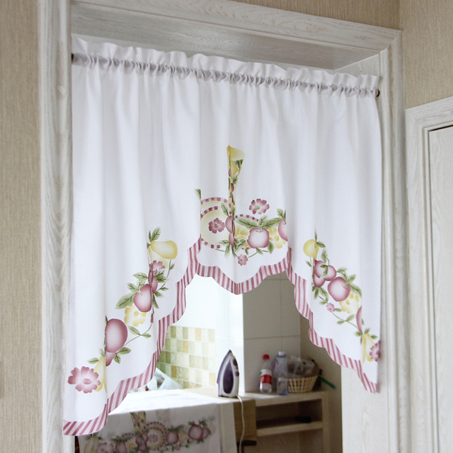 Short Kitchen Curtains Terry Cloth Towels New Cafe Fruits Design Embroidery Lace Japanese Door Curtain Cotton And Linen Blending Window