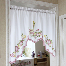 New Cafe Short Kitchen Curtains Fruits Design Embroidery Lace Japanese Door  Curtain Cotton And Linen Blending