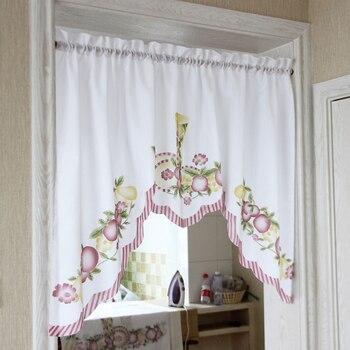 Nuovo caffè breve tende della cucina frutta merletto di disegno del ricamo giapponese porta tenda di cotone e lino blending tende della finestra tanmeluo Official Store