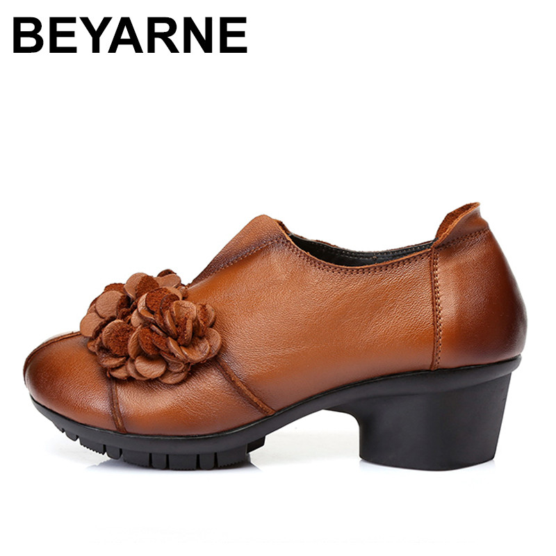 BEYARNE 2018 Spring Autumn Woman Genuine Leather Shoes Pumps Lady Round Toe Flowers Shallow Mouth Women High Heel Shoes the new type of diamond mother sandals lady leather fish mouth flowers with leather high heeled shoes slippers women shoes