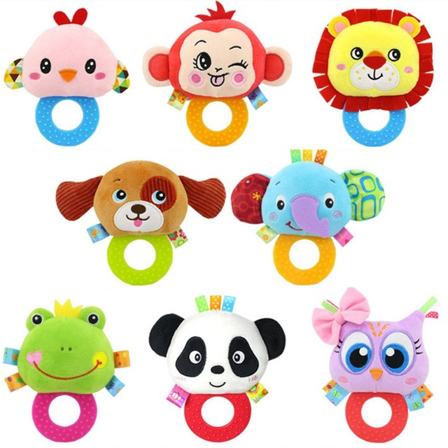 Baby Kids Plush Animal Rattle Toys Educational Musical Soft Baby Teether Bed Stoller Hanging Musical Raccoon Toys Baby Toy Gift 2