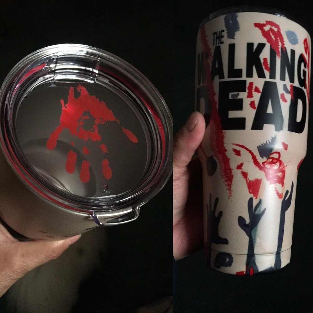 30oz 900ml Walking dead zombie cup coffee tumbler tea water mug 18/8 stainless steel insulated vacuum double wall thermos glass