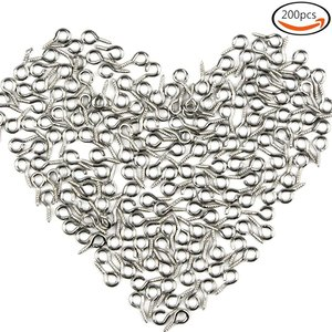 200pcs 10mm Silver Metal Eye H