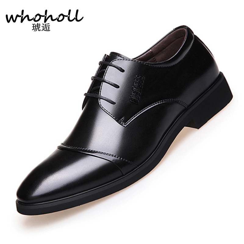 583e25cd79ff Whoholl Business Men s Basic Flat Super Fiber Leather Gentle Wedding Dress  Shoes Luxury Brand Formal Wearing British Big Size