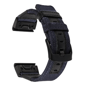 Image 4 - 26mm Genuine Nylon + Leather Watchband for Garmin Fenix 5X / 3 / 3HR Quick Easy Fit Watch Band Stainless Steel Clasp Wrist Strap