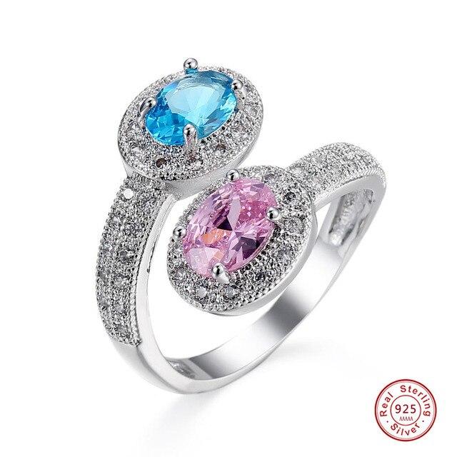 f7b80ae4f53b1 Rosa blau Zirkonia Weiß CZ Grün Peridot 3 Stein Engagement 925 Sterling  Silber Ring Für Frauen