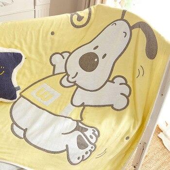 Decoración De Baño Para Niños | Manta De Toalla De Baño De Gasa De Seis Capas Con Patrón De Perro De Dibujos Animados Jacquard Niños Tiro De Bebé 120x150 Cm