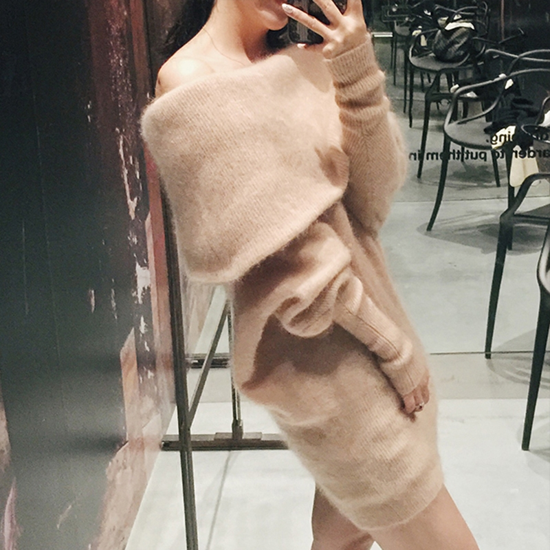 2019 Free Shipping Women Thickness Mink Collar Shirt Sleeve Head Strapless Collar Sweater Mink Cashmere Sweater