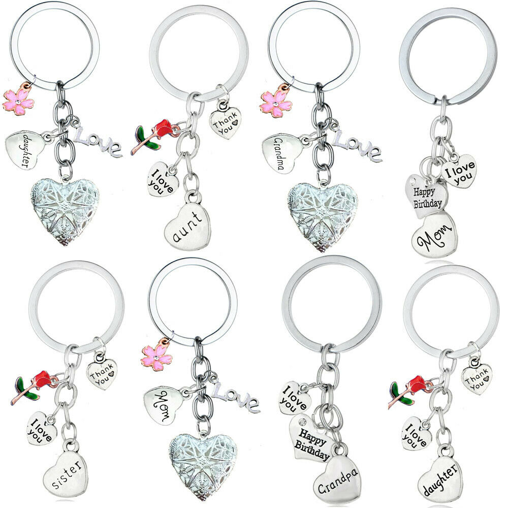 US $1 03 35% OFF|Love Heart BIRTHDAY Gift Keyring Gifts For Mother Father  Son Mom Dad Sister Daughter Keychain Gifts keepsake Key Chains Family-in  Key