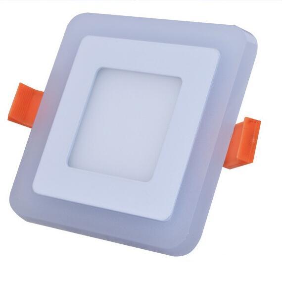 Ultra Slim 6W 9W 18W 24W čtvercové podsvícení Dual Color LED světlo panelu Cool White + modrá / RGB svítidlo AC100-265V