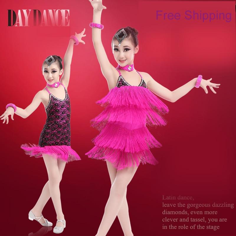 Professional Children Kids Magical Two Wear Ballroom Dancing Clothing Girls Sexy Performance Latin Fringe Dress
