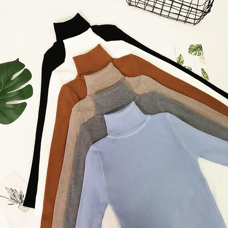 Suéteres de mujer 2019 Tops de invierno suéter de cuello alto para mujer suéter de punto fino Jersey de punto para mujer Hiver Truien Dames nuevo
