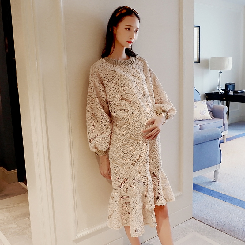 2018 spring long sleeve womens crochet maternity lace dresses evening dress tops party ball gown lace asymmetrical hem clothing
