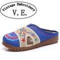 Старинные Вышивки тапочки конопли сандалии весна лето вышитые белье сухожилия Китайский вышитые Старый Пекин размер 35-41