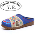 Vintage Embroidery slippers  hemp sandals spring summer embroidered linen tendon Chinese embroidered Old BeiJing size 35-41