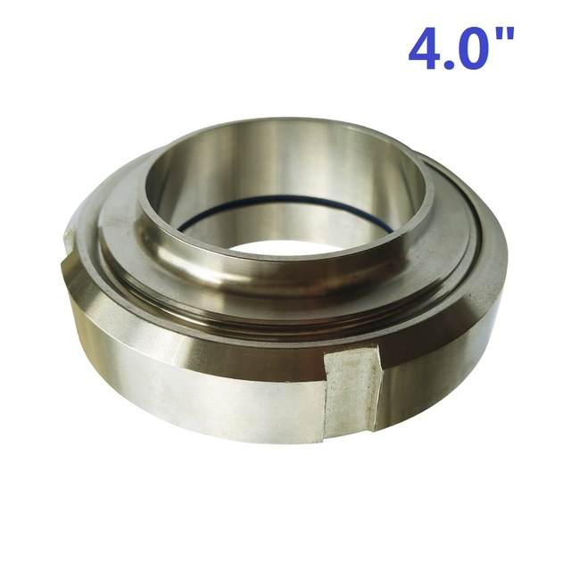 """SS304 SMS 4"""" 102mm Sanitary Union Set (1 male part + 1 liner + 1 nut + 1 seal ring) for Welding Ends Pipe Tubing Connection"""