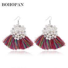 Bohemia Tassel Earrings Women Statement Fringe Ear Pearl Ball Vintage Dangle Large Earrings Fashion Jewelry Gift 2018 Brincos bohemia round fringe dangle earrings