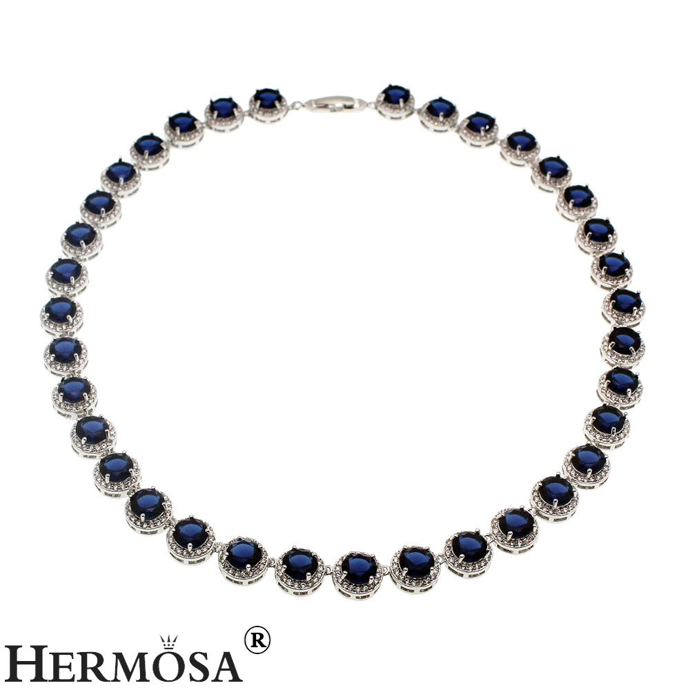 HERMOSA JEWELRY 925 Silver Womens Choker Sterling Silver Necklace Classic Blue Round Jewelry Fashion Party Dresses Lady Design
