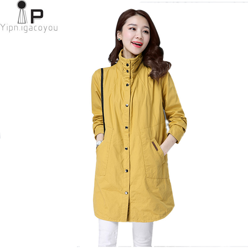 Casual Long Coat Women Windbreaker Autumn Harajuku Ladies   Trench   Coat New Female Plus Size Vintage Female Overcoat 3XL Outerwear