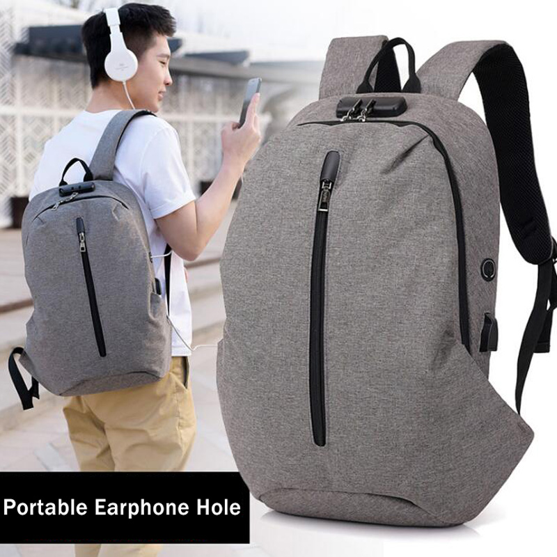 2018 New Men Black Backpack Waterproof Plaid Bag Anti Theft Multifunctional Men Canvas Shoulder Bag Laptop Backpack Travel Bag