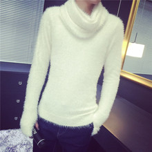Mohair sweater men 2018 autumn and winter clothing new trend men's sweater with gloves and scarf solid Pullovers Knitting male