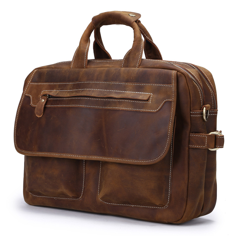 Vintage Crazy Time-limited Horse Leather Man Tote Bag Designer Handbag Men's Bags New Men Messenger Shoulder Laptop Briefcase designer second layer crazy horse leather briefcase men messenger shoulder bag laptop bag maletin hombre negocios bookbag b00021