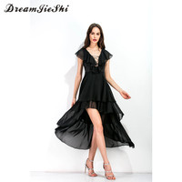 Summer Women Sexy Deep V Neck Cascading Ruffle Sleeveless Bandage Irregular Dress Elegant Black Chiffon Maxi