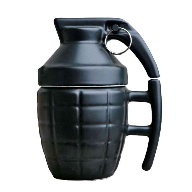 Creative Grenade Drinkware Mugs Ceramic Water Coffee Tea Mug Cup with Cover Lid White/Black 280ml Grenade Boom Cups Office Gifts