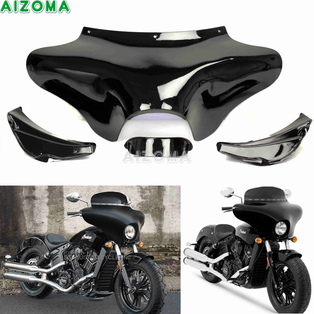 Motorcycle Front Outer Shades Batwing Fairing Windshield Cowling Mask For Hyosung Triumph Victory Harley Suzuki Yamaha V-star vivid black front outer batwing fairing for harley softail road king dyna flht flhx yamaha v star 650 1100 classic shadow vt1100