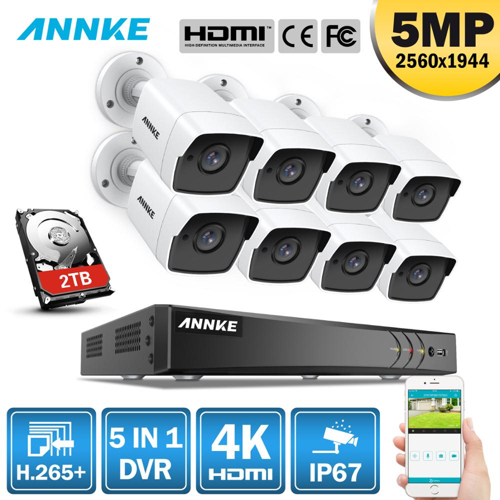 ANNK H.265+ 5MP Ultra HD 8CH DVR CCTV Security System 8PCS Outdoor 5MP EXIR Night Vision Camera  Video Surveillance Kit
