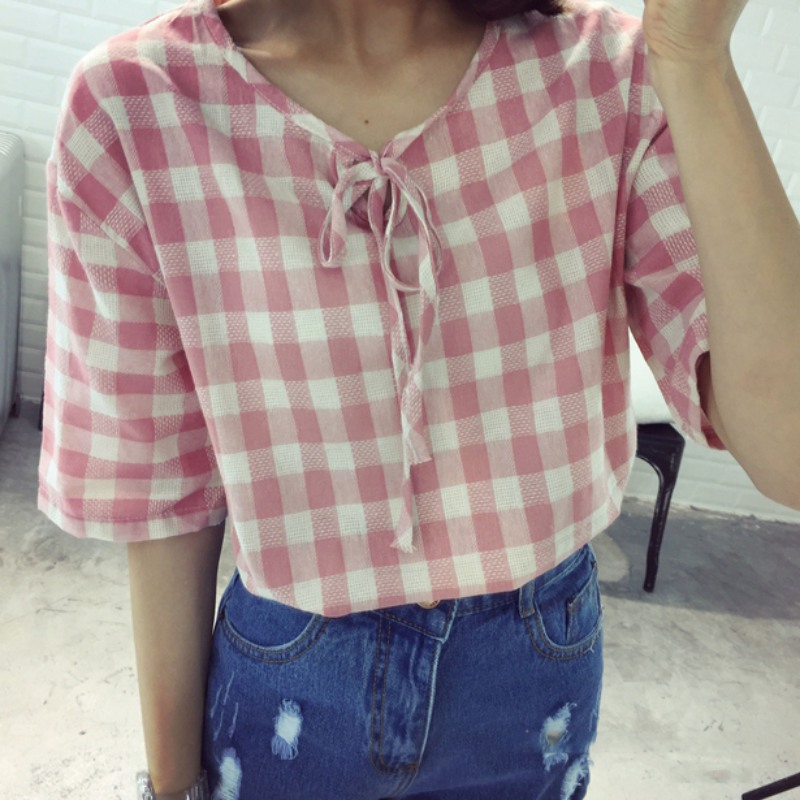 Women's Clothing Students Blouse Short Sleeve Loose Plaid V-neck Doll Women Shirts Summer Tops Fine Craftsmanship