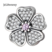 Authentic 100 925 Sterling Silver White Flower Pink Crystal Bead Charms Fit Pandora Bracelets Bangles Luxury