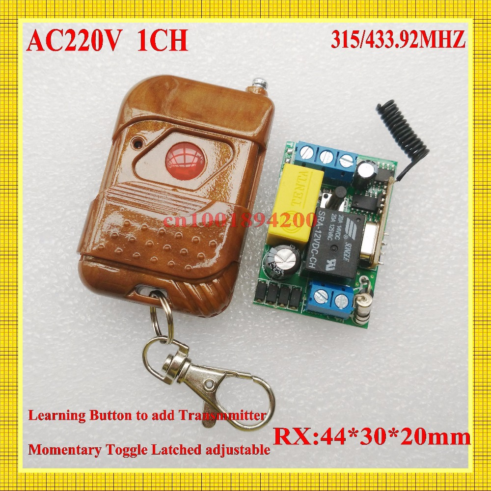 220V Remote Control Power Switches Mini Size Remote Controlled Lighting Switch Momentary Toggle Learning Code 315/433MHZ 315 433mhz 12v 2ch remote control light on off switch 3transmitter 1receiver momentary toggle latched with relay indicator