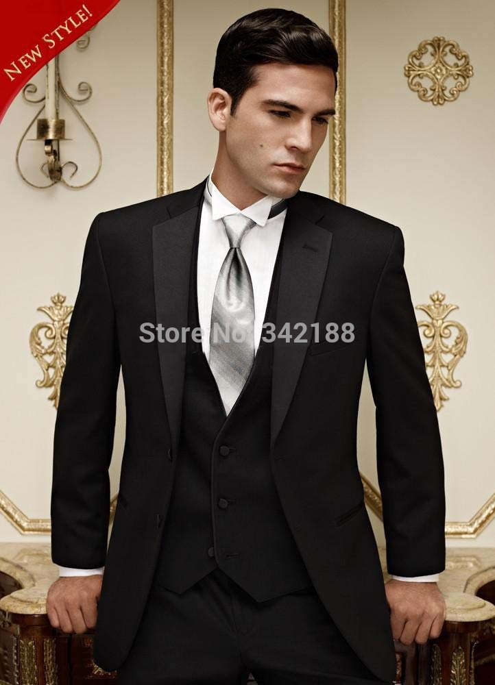 Custom Made Black Two Buttons Groom Tuxedo/Best Man Notch Satin Lapel Groomsmen Men Wedding Suit/Bridegroom (Jacket+Pants Vest)w