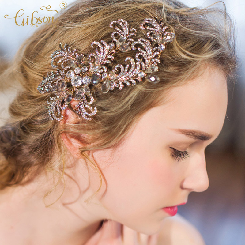 Antique Gold Vintage Phoenix Style Rhinestone Bridal Bridesmaid Hair Clip Jewelry Prom Women Headpiece Black Friday Hot Selling