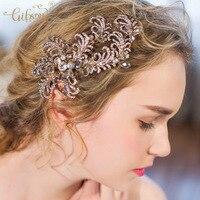 Antique Vàng Vintage Phoenix Phong Cách Rhinestone Bridal Phù Dâu Tóc Kẹp Đồ Trang Sức Prom Phụ Nữ Mũ Sắt Đen Thứ Sáu Hot Bán