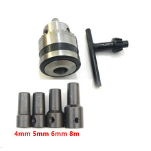 Mini Electric Drill Chuck 0.6-6mm Mount B10 Taper with 4mm/5mm/6mm/8mm Connector Rod Motor Shaft Key Wrench Power Tools