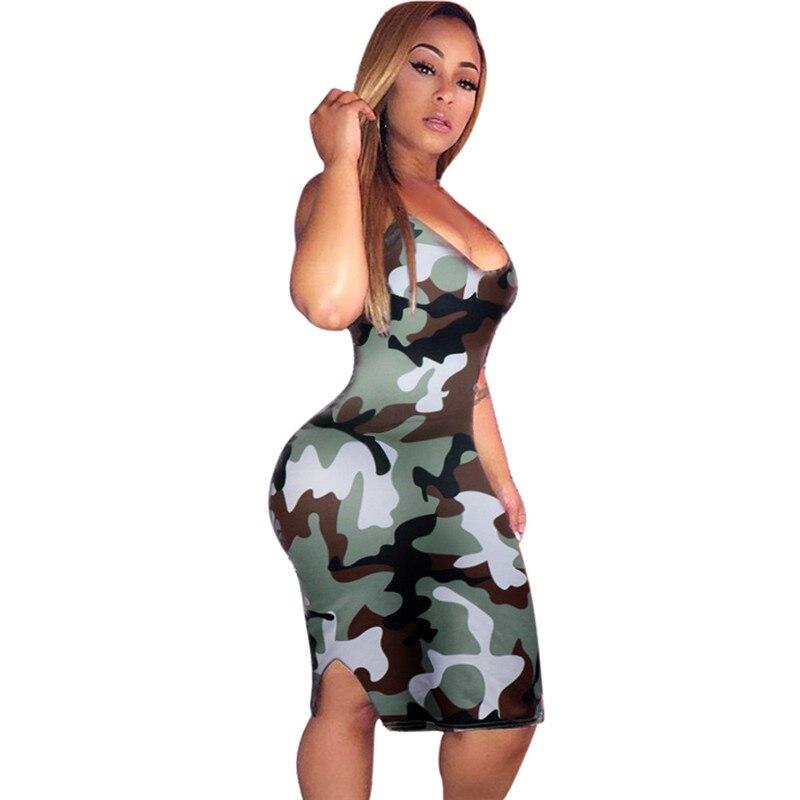 snowshine YLI Fashion Womens Camouflage Camo Army Printing Strap Sleeveless Ladies Slim Dress free shipping