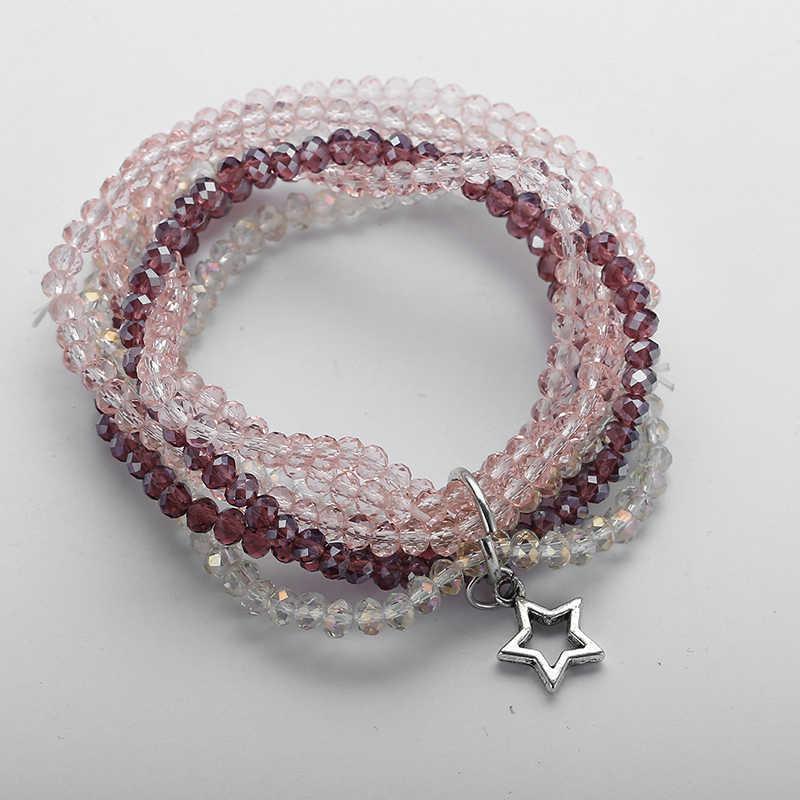 Moda Mix kolorów 6 nici kryształowe antyczne srebrne wisiorki rozciągliwe bransoletki szklana bransoletka z paciorkami i bransoletką