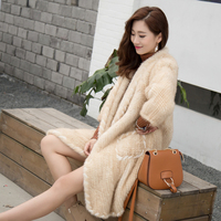 2017 new style mink hair braided long fur coat lapel mink coat female fashion autumn and winter loose was thin shirt