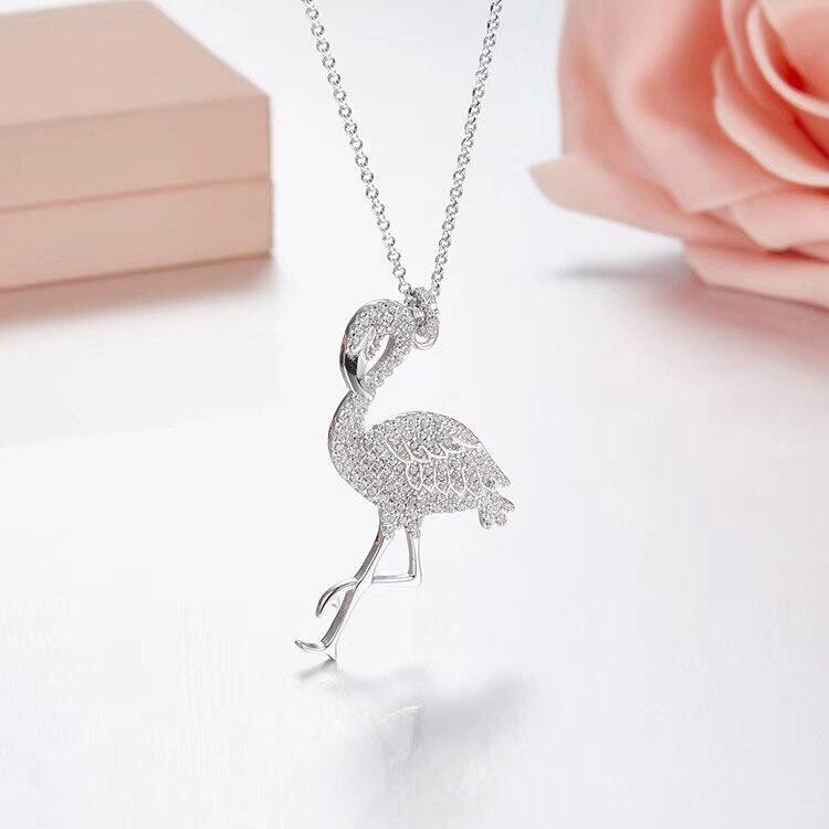 SLJELY Luxury Brand Design Cubic Zirconia Pink Flamingo Pendant Necklace Women Bird Choker Monaco 925 Sterling
