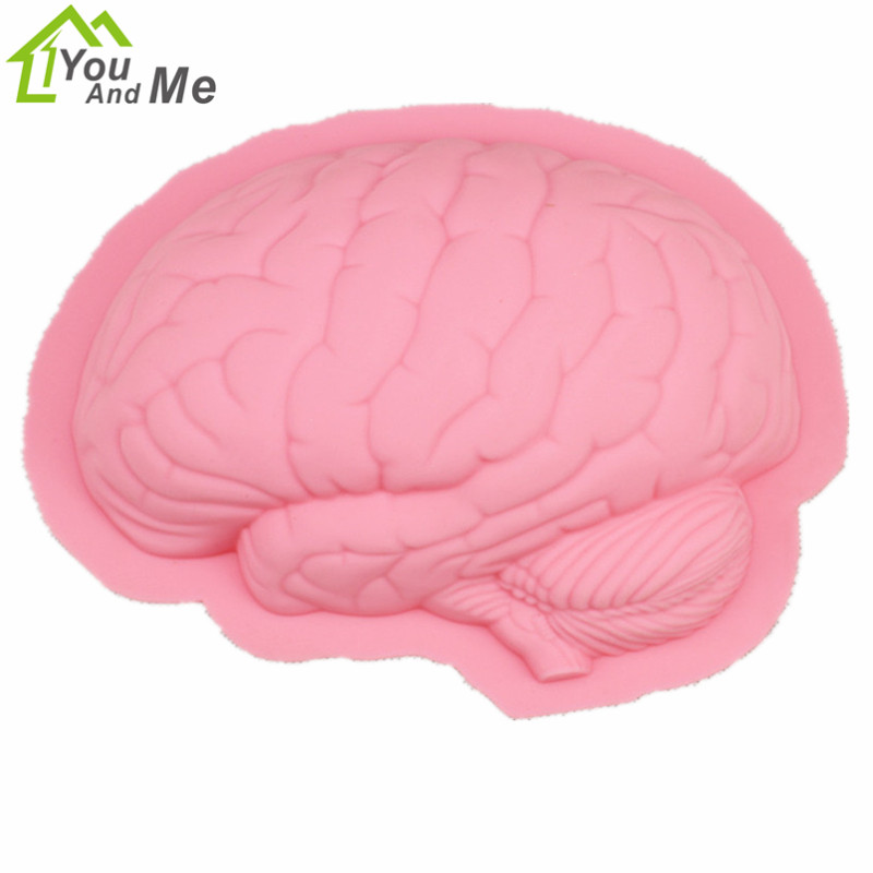 Diy handmake soap mold forma del cerebro de silicona rosa pastel de chocolate mo