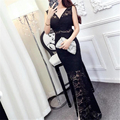 2017 Spring Summer Womens Dresses New Arrival Slim Lace Long Maxi Dress Floral Lace Patchwork Sexy Split Bodycon Dress vestidos