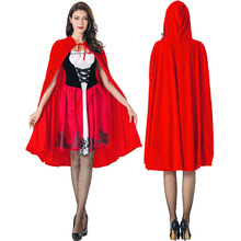 Womens Little Red Riding Hooded Costume Halloween Party Robe Lady Embroidery Dress Cosplay Fantasia Game Uniform