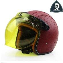 2016 Novas Mulheres e Homens de Couro Da Motocicleta Face Aberta Capacetes com bolha escudo do vintage 3/4 casco do capacete para adultos moto XXL
