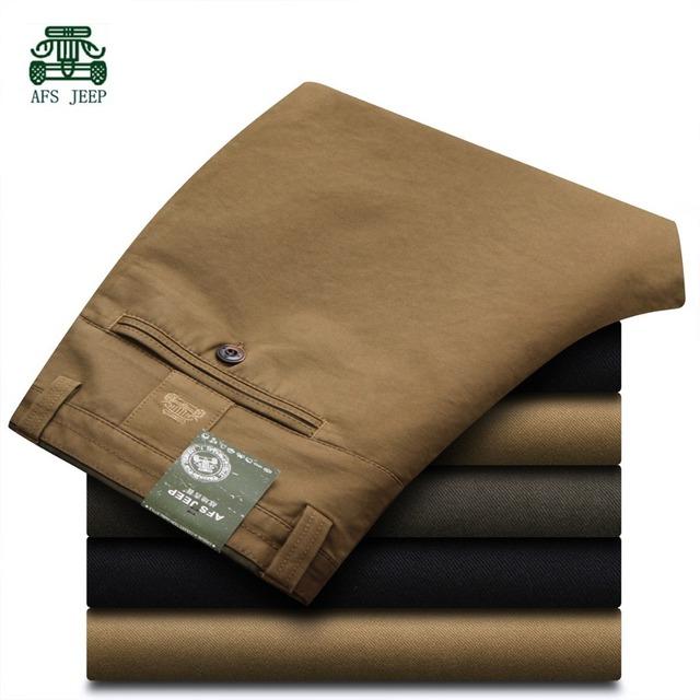 Afs JEEP 2015 hombres del resorte del algodón pantalones rectos, para hombre de la marca formales pantalones delgados, otoño para hombre ocio moda de largo PantsWholesale