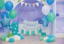 Laeacco балон бебе 1 рожден ден синьо декор флорални торта лента снимка фон персонализирани фотографски фон за фото студио