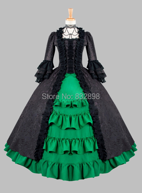Free DHL Shipping Gothic Black and Green Cotton Brocade Victorian 1870/90s Era Dress Party Dress Cosplay Dress